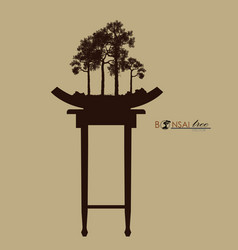 Bonsai tree on the table vintage realistic style vector