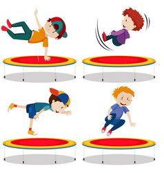 boy jumping trampoline on white background vector image