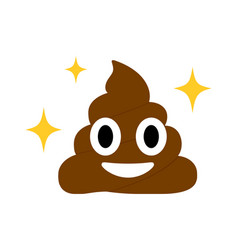 Brown dung face flat icon with blinking star vector