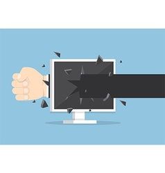 Businessman hand throw a punch through monitor vector