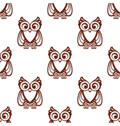Cartoon brown owl seamless pattern vector