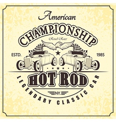 championship hot rod retro vector image