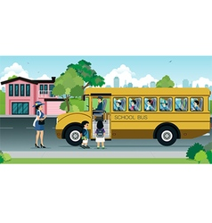Children on school bus vector image
