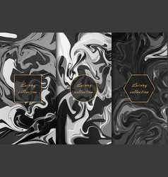 Collection of monochrome marble backgrounds vector