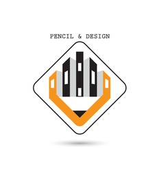 Creative pencil icon abstract logo design vector image