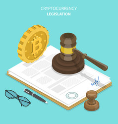 Cryptocurrency legislation flat isometric vector