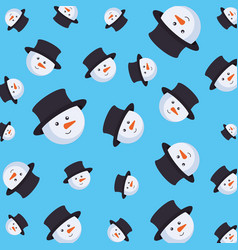 cute snowman christmas character pattern vector image