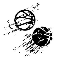 Distressed basketball ball on white background vector