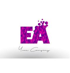 Ea e a dots letter logo with purple bubbles vector