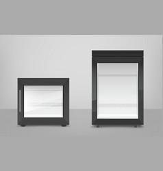 Empty black mini refrigerator with glass door vector