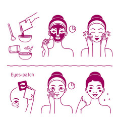 Face skin beauty set isolated woman vector