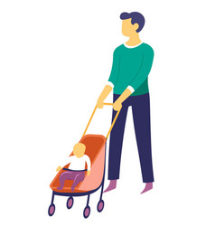 father walking with bain pram parent and vector image