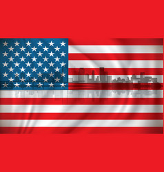 flag of usa with miami skyline vector image