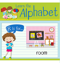 Flashcard letter R is for room vector image