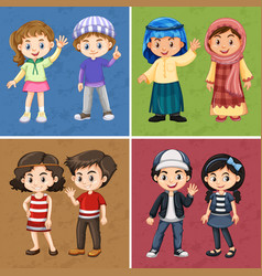 four color backgrounds with happy children vector image