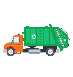 garbage truck car machine recycle trash vector image
