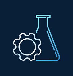 Gear with flask outline colored icon flask with vector