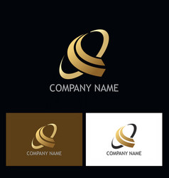 Gold abstract loop logo vector