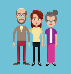Grandparents and mother family image vector