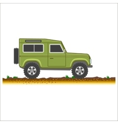 green vintage suv car off-road 4x4 icon colored vector image