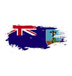 grunge brush stroke with montserrat national flag vector image
