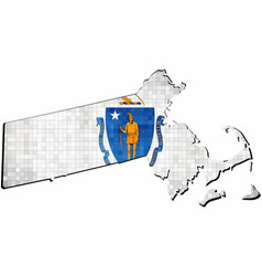 Grunge massachusetts map with flag inside vector