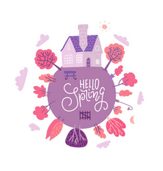 hello spring greeting card with lettering text vector image