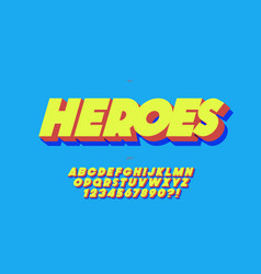 heroes font 3d bold style vector image