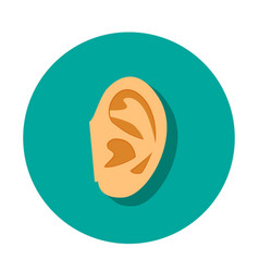 human ear icon with shadow in flat style vector image