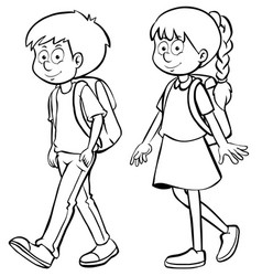 Human outline for boy and girl vector