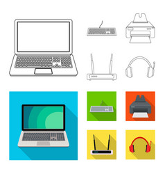 isolated object of laptop and device logo vector image