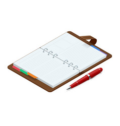 isometric open blank spiral notepad notebook and vector image