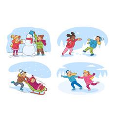 kids winter activities cartoon set vector image