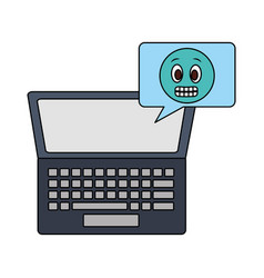 laptop computer with speech bubble and emoji vector image