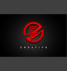 Letter f logo with a red circle swoosh design vector