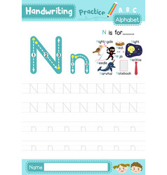 Letter n uppercase and lowercase tracing practice vector