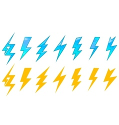 Lightning icons and symbols vector