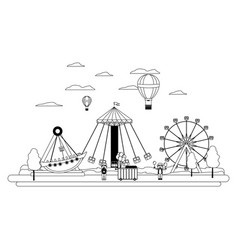 Line funny carnival mechanical ride games vector