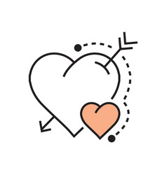 Line heart and arrow icon flat vector