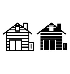 Log cabin line and glyph icon lining cottage vector