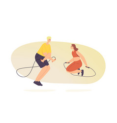 male and female characters doing sport training vector image
