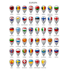 map marker set with flags of europa vector image