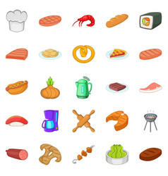 meat delicacy icons set cartoon style vector image