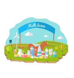 milk farm concept banner flat design vector image