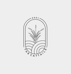 Minimalist cattail or reed line art logo design vector