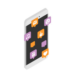 modern smartphone with cloud social media vector image