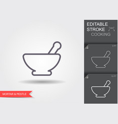 Mortar and pestle line icon with editable stroke vector
