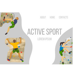 Mountain climbing sport web template vector
