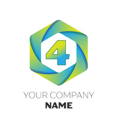number four symbol on colorful hexagonal vector image