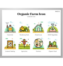 Organic farm icons linecolor pack vector